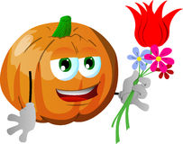 Pumpkin holding tulip and other flowers Stock Images