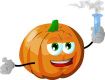 Pumpkin holds beaker of chemicals Stock Image