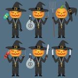Pumpkin Holds Dynamite Pitchfork Knife Money. Vector Illustration, Pumpkin Holds Dynamite Pitchfork Knife Money, Format EPS 8 Stock Image