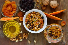 Pumpkin homemade granola with walnuts and dried fruits Royalty Free Stock Image