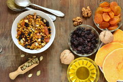 Pumpkin homemade granola with walnuts and dried fruits Stock Image