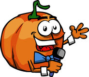 Pumpkin hosting a show and talking into a microphone Royalty Free Stock Photos