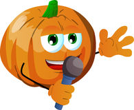 Pumpkin hosting a show and talking into a microphone Stock Photo