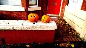Pumpkin on a house in englad royalty free stock photo