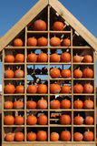 Pumpkin House. A house full of pumpkins as seen at a fall pumpkin festival. The orange of the pumpkins is contrasted against the blue of the sky. I tried to Royalty Free Stock Photo