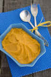 Pumpkin Hummus in a blue bowl Royalty Free Stock Photo