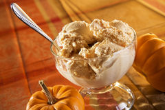 Pumpkin ice cream. Delicious pumpkin ice cream styled with ingredients light beautifully with studio lights stock photography