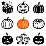 Pumpkin icon. Pumpkin halloween icon collection - outline and silhouette vector illustration