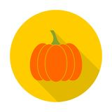 Pumpkin icon with long shadow Stock Photo