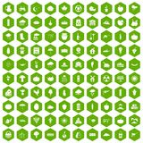 100 pumpkin icons hexagon green. 100 pumpkin icons set in green hexagon isolated vector illustration Royalty Free Stock Photo
