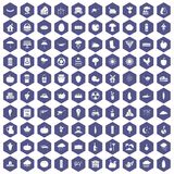 100 pumpkin icons hexagon purple. 100 pumpkin icons set in purple hexagon isolated vector illustration Stock Photography