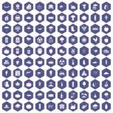 100 pumpkin icons hexagon purple. 100 pumpkin icons set in purple hexagon isolated vector illustration stock illustration