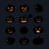 Pumpkin icons with scary faces Stock Photo