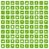100 pumpkin icons set grunge green Stock Photography