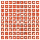 100 pumpkin icons set grunge orange. 100 pumpkin icons set in grunge style orange color isolated on white background vector illustration Royalty Free Illustration