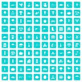 100 pumpkin icons set grunge blue. 100 pumpkin icons set in grunge style blue color isolated on white background vector illustration Royalty Free Stock Image
