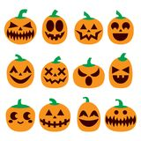Pumpkin  icons set, Halloween scary faces design set, horror decoration Stock Photography