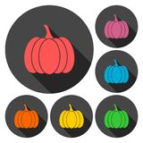 Pumpkin icons set with long shadow Royalty Free Stock Photo