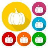 Pumpkin icons set with long shadow Royalty Free Stock Photography