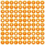 100 pumpkin icons set orange. 100 pumpkin icons set in orange circle isolated on white vector illustration Stock Illustration