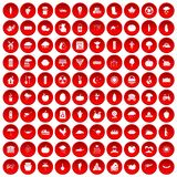 100 pumpkin icons set red. 100 pumpkin icons set in red circle isolated on white vector illustration Royalty Free Stock Image