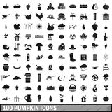 100 pumpkin icons set, simple style Royalty Free Stock Photography