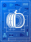 Pumpkin image like blueprint drawing Stock Image