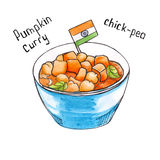 Pumpkin. Indian food. isolated. watercolor Stock Photo