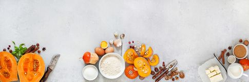 Pumpkin and ingredients for baking stock images