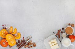 Pumpkin and ingredients for baking stock photography
