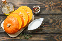 Pumpkin. Ingredients for cooking soup with cream Royalty Free Stock Photography