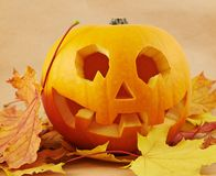 Pumpkin Jack-o'-lantern over maple-leaf Royalty Free Stock Photography