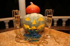 Pumpkin Jack glows at night royalty free stock photography
