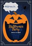 Pumpkin Jack smiling on blue BG halloween illustration stock photos