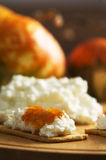 Pumpkin jam. Crackers with ricotta cheese and pumpkin jam Royalty Free Stock Photos
