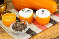 Pumpkin Juice Latte with Whipped Cream and Chia Seeds Stock Photography