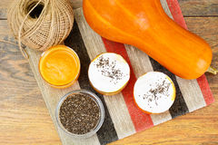 Pumpkin Juice Latte with Whipped Cream and Chia Seeds Royalty Free Stock Photos