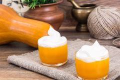 Pumpkin Juice, Smoothies with Cream. Studio Photo stock image
