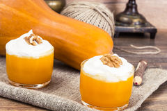 Pumpkin Juice, Smoothies with Cream. Studio Photo royalty free stock image