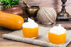 Pumpkin Juice, Smoothies with Cream. Studio Photo royalty free stock images