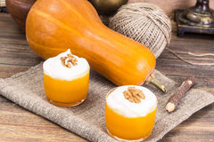Pumpkin Juice, Smoothies with Cream. Studio Photo stock photography