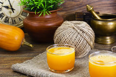 Pumpkin Juice, Smoothies. Studio Photo royalty free stock images