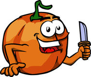 Pumpkin with a knife Stock Photography