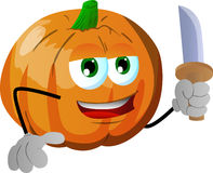 Pumpkin with a knife Stock Image