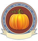 Pumpkin label with scroll for text. Stock Photo