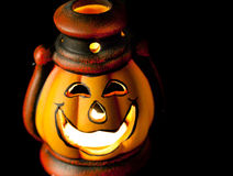 Pumpkin lantern with candle Stock Photos