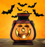 Pumpkin lantern with candle Stock Images