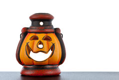 Pumpkin lantern with candle Royalty Free Stock Images