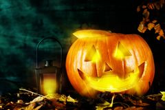 Pumpkin with lantern on dark background Royalty Free Stock Photo