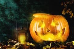 Pumpkin with lantern on dark background Stock Photography